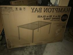 60in x 38in Tempered Glass Rectangle Dark Taupe Finsh Table