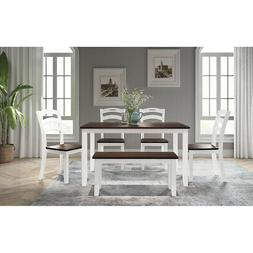 6pc Dining Room Table Set Acacia Wood & MDF Dining Chairs Wi