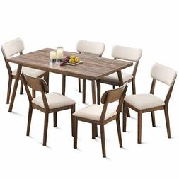 7 Pcs Dining Table Set Wooden Frame Desk & 6 Fabric Upholste