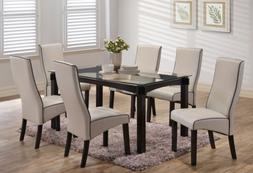 Kings Brand Furniture - 7 Piece Dining Set, Glass Top Table