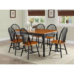 7 Piece Dining Set Table and 6 Chairs Country Farmhouse Blac