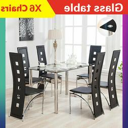 7 Piece Dining Table Set 6 Chairs Glass Metal Kitchen Room B