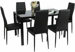 7 Piece Dining Table Set + 6 PU Leather Chairs Glass Metal K