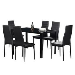 7 Piece Dining Table Set for 6 Chairs Clear Glass Metal Kitc