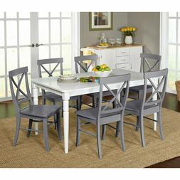7 Piece Farmhouse Dining Kitchen Set Table & 6 X-backed Chai