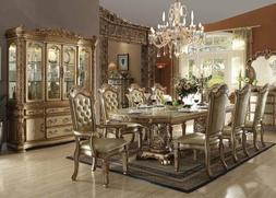 7 Piece Formal Dining Set Gold Finish With Leaf 6 Chairs and