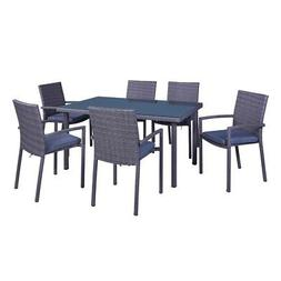 Palm Springs 7-Piece Outdoor Wicker Style Dining Set - Table