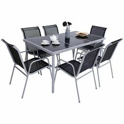 7 Piece Steel Table Chairs Dining Set Patio Furniture Outdoo