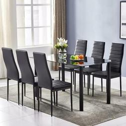 7 PIECES DINING TABLE BLACK GLASS TABLE AND 6 CHAIRS FAUX LE
