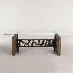 """79"""" L Dining Table Reclaimed Hardwood Solid Glass Top Cast I"""
