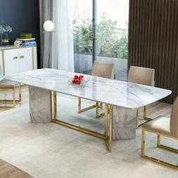 """Homary 78.7"""" Rectangular White Faux Marble Dining Table Acco"""