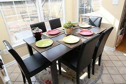 7pc Espresso Dining Room Kitchen Set Table 6 BLACK LEATHER P