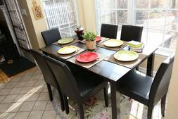 7pc Espresso Dining Room Kitchen Set Table 6 Brown Leather P
