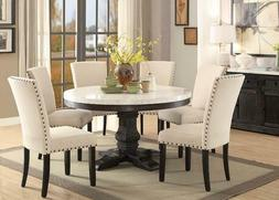 7PC LUCIA WHITE MARBLE TOP WEATHERED BLACK WOOD ROUND PEDEST