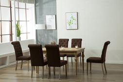 7pc OAK Dining Room Kitchen Set Table 6 BROWN Rolled Top Cha