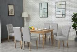 7pc OAK Dining Room Kitchen Set Table 6 GREY TUFTED Chairs 7