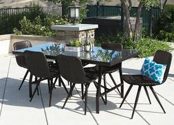 7PC Outdoor Dining Set Brown Wicker Patio Furniture Table Ch