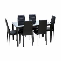 7 Piece Rectangular Dining Set Glass Table 6 Artificial Leat