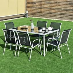 7pcs Set Garden Patio Steel Dining Glass Top Table Chairs St