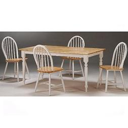 Boraam 80369 Farmhouse 5-Piece Dining Room Set, White/Natura