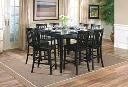 9pcs Contemporary Black Counter Height Dining Table & 8 Stoo