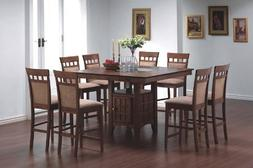 9pcs Counter Height Dining Table with Lazy Susan & 8 Stools