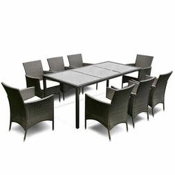 9PCS Patio Furniture Set Dining Brown Rattan Table Chairs Cu