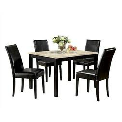 ACME Contemporary Faux Marble Dining Set, White