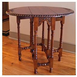 Accent Hand-Carved Mahogany Drop-Leaf Oval Living Room Table