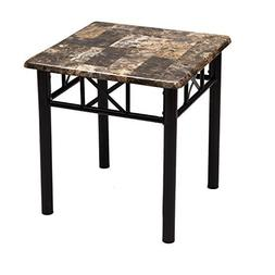 Adeco Adeco Side/End Table, Faux Marble Top, Black Metal Bas