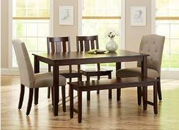 Better Homes and Gardens 6-Piece Dining Set, Mocha/Beige Bet