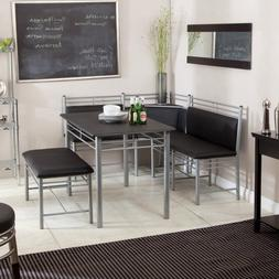 Breakfast Nook - Black Family Diner 3 Piece Corner Dining Se