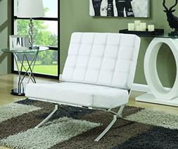 Coaster Mid-Century Modern Accent Chair with Chrome Legs, Wh