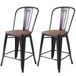 COSTWAY Copper Set of 2 Tolix Style Metal Dining Chairs with
