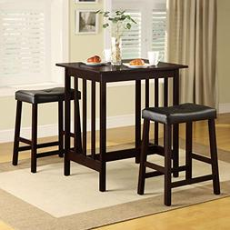 Dining Table Set Counter Height 3 Piece Nova Espresso Wood.