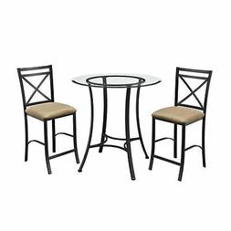 Dorel Living Valerie 3 piece Counter Height Glass and Metal
