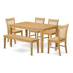 East West Furniture CANO6-OAK-W 6-Pc Dining Room Set with Be