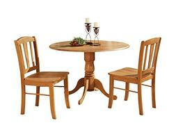 East West Furniture DLIN3-OAK-W 3-Piece Kitchen Table Set, O