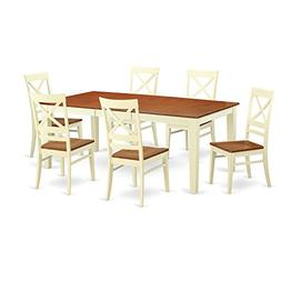 East West Furniture QUIN7-WHI-W 7-Piece Formal Dining Table