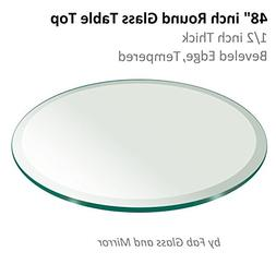 "Fab Glass and Mirror 1/2"" Thick Beveled Tempered Glass Round"