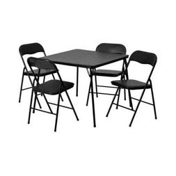 Flash Furniture 5 Piece Black Folding Card Table and Chair S