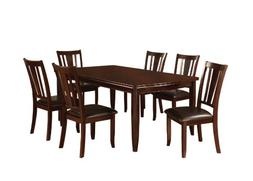 Furniture of America Anlow 7-Piece Dining Table Set with 18-