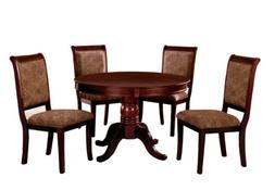 Furniture of America Bernette 5-Piece Round Dining Table Set