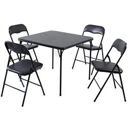 Giantex 5PC Black Folding Table Chair Set Guest Games Dining