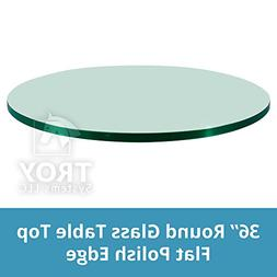 """TroySys Glass Table Top: 36"""" Length, 1/4 Thick, Flat Edge, T"""