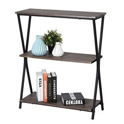 HOMY CASA 3 Tier Bookshelf Home Office Storage Shelves Indus