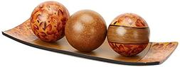 "Hosley Brown Decorative Tray and Orb/ball Set- 15"" Long, Bur"