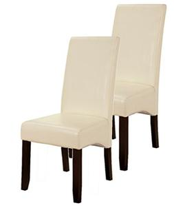 King's Brand Set of 2 Cream White Parson Chairs With Espress