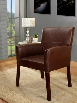 Kings Brand Faux Leather With Cherry Finish Wood Legs Accent