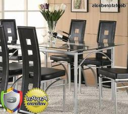 Los Feliz Dinning Table with Glass Top Matte Silver and Clea